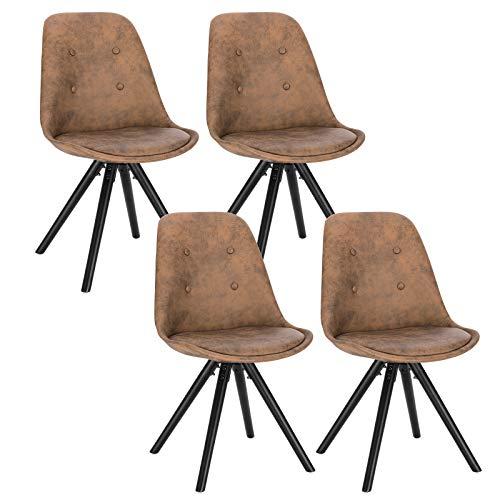 WOLTU® BH268dbr-4 4 x Esszimmerstühle 4er Set Esszimmerstuh, Sitzfläche aus Stoffbezug, Design Stuhl, Küchenstuhl, Holzgestell, Antiklederoptik Dunkelbraun