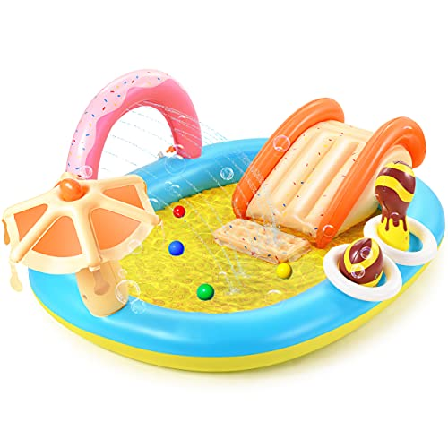 Hesung Inflatable Play Center, 98'' x 67'' x 32'' Kids Pool with Slide for Garden, Backyard Water Park