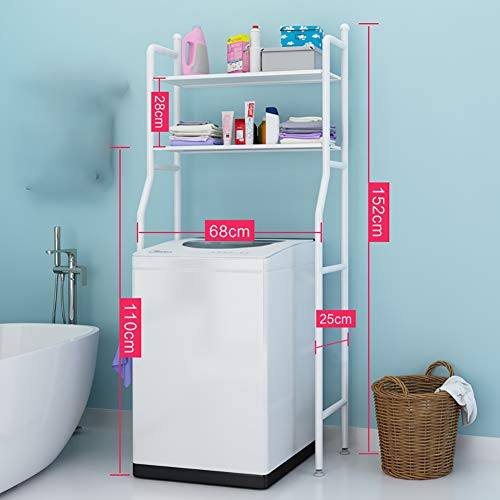Paghy WC-Regal, 2 Etagen, Metall, Badezimmerregal, Lagerregal, Waschmaschinenregal, multifunktional, platzsparend, Legierung, weiß, Größe