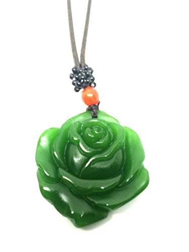 yigedan Halskette mit Anhänger aus natürlicher grüner Jade-Rose, Glücksbringer