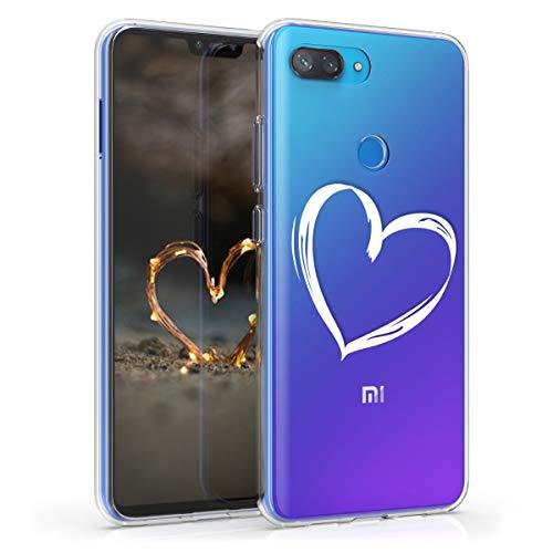 kwmobile Funda Compatible con Xiaomi Mi 8 Lite - Carcasa de TPU y Dibujo de corazón en Blanco/Transparente
