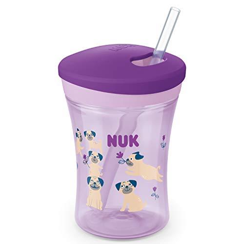 NUK Action Cup Trinklernflasche, weicher Trinkhalm, auslaufsicher, 12+ Monate, BPA-frei, 230ml, Hunde, violett