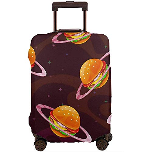 Carneg Funda de Equipaje de Viaje Burger Food Planet Funda de Maleta Protector Se Adapta a Equipaje...