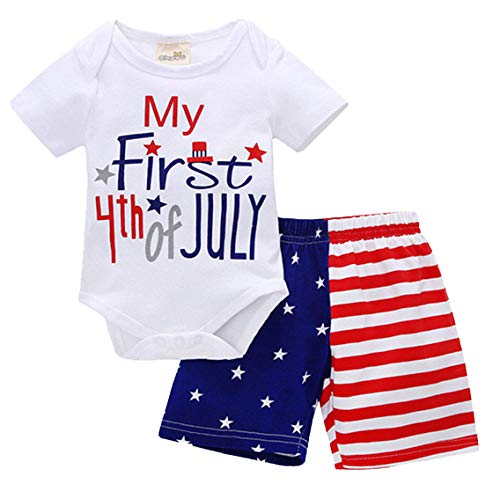 2Pcs Toddler Boys Girls My First 4th of July Romper Tops + Shorts Outfits Set Size 12-18...