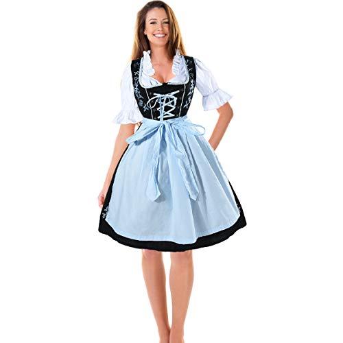 HBBMAGIC Dirndl Set 3 TLG. Midi Trachtenkleid für Oktoberfest - Trachtenkleid Kleid, Dirndlbluse, Schürze, Gr. 34-42 Klassisch Schwarz Blau