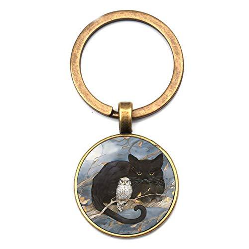 XHYKL Fashion zwarte kat uil patroon sleutelhanger retro schilderij kat kristal glas sleutelhanger mannen vrouwen accessoires auto pakket partij geschenken