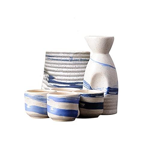 MDFQL Set de Saki de cerámica Japonesa Tradicional, Conjuntos de Copa de 6 Piezas, con Frasco de Cadera, jarras de Vino cálido, Copa de Vino, para Bar, Sala de Estar, Comedor o Cocina,F