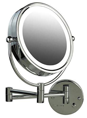Ovente Lighted Wall Mounted Makeup Mirrors 8.5 Inch 1X 7X Magnifying Dimmer Switch LED 360 Degree Double Side Extended Arm Circle Large Hardwire Installation Required Polished Chrome MPWD3185CH1X7X