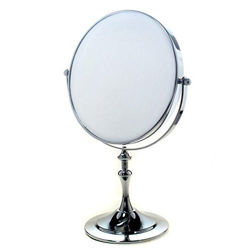 TUKA Standspiegel 5 fach Vergrößerung, 8 inch Kosmetikspiegel 360° drehbar. Verchromten Schminkspiegel Rasierspiegel Tischspiegel Badzimmerspiegel, Doppelseitig: Normal+ 5x Vergrößerung, TKD3105-5x
