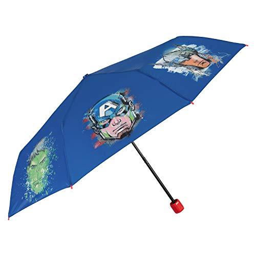 Marvel Avengers Mini Umbrella Kids - Folding Umbrella Perfect for Travel - Resistant Windproof Fiberglass - Blue Background with Capitan America Hulk Thor - Manual Opening - 7+ Years Old - Perletti