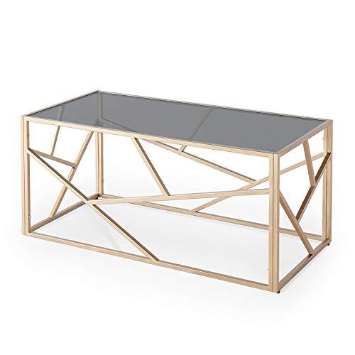 Mesa de centro de diseño DecoInParis de vidrio negro y metal dorado rectangular SOLAL