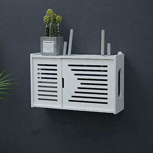 ZHAOYAN Set-Top Box - Caja de almacenamiento para router inalámbrico, 39 x 12 x 24 cm, color blanco