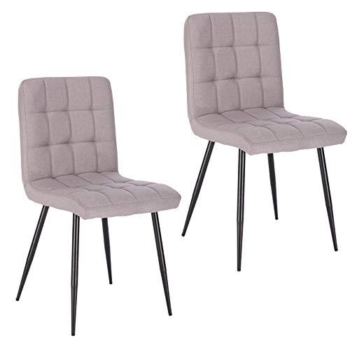 Lestarain 2X Sillas de Comedor Silla de Salón Dining Chairs Tapizadas Sillas de Cocina Nórdicas Asiento de Lino Silla Bar Metal Silla de Oficina Gris Claro