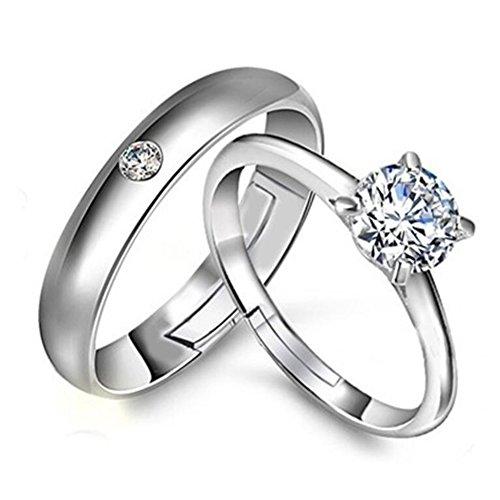 Impression 1 coppia Anelli Moda Diamond Girl Accessori per gioielli Diamond Full Diamond Cute Shape Anello Coppia Ring Rings San Valentino Regalo di compleanno 2018 Nuovo