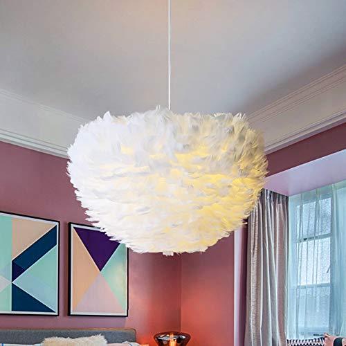 MMDJ Feder-Pendelleuchten Nordic Vintage Loft-Dekor-Leuchter-Licht für Esszimmer Küche Heim Leuchten LED,Weiß,70cm