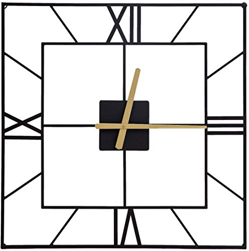 UMI. by Amazon 63.5CM Large Square Kitchen Wall Clock Black Silent Clock for Living Room Bedroom Home Modern
