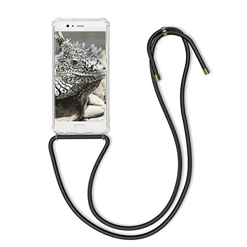 kwmobile Carcasa con Cuerda Compatible con Huawei P10 - Funda Transparente de TPU con Cuerda para Colgar en el Cuello