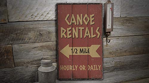 Canoe Rentals - Cartel de madera para canoa y canoa de madera para alquilar canoas de lago de madera, letrero de madera rústica para decoración del hogar