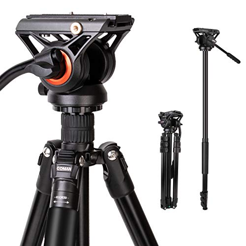 """Tripod, COMAN Premium Camera Monopod Tripod for DSLR Camcorder, Professional Aluminum Travel Tripod with 360 Degree Fluid Head w/ 1/4"""" Mounting Screw Quick Release Plate, Load up to 17.6 Pounds"""