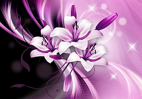 wandmotiv24 Fototapete Lilien Abstrakt Violett, M 250 x 175 cm - 5 Teile, Fototapeten, Wandbild, Motivtapeten, Vlies-Tapeten, Blumen, Ornament, Blüte M1337