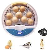 Migaven Incubatrice per Uova, Incubatrice Digitale Semiautomatica da 9 Uova Macchina Incubatrice di Pollame a Temperatura Regolabile per Polli Anatre Quaglie Uccelli Uova