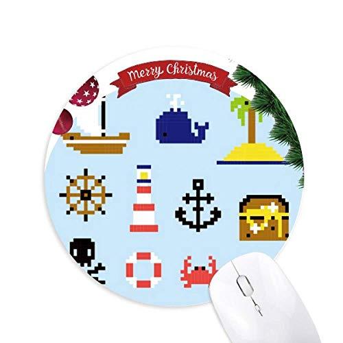 Summer Sail Treasue Hunt Pixel Round Rubber Maus Pad Weihnachtsbaum Mat