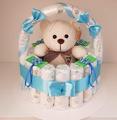 Windeltorte, Korb aus Windeln blau, Geburt, Taufe, Geschenk für Jungen, Baby Party, Pampers Gr.3, Plüsch Bär