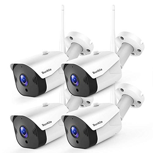 TourAlle Outdoor Security Camera -1080P HD Wireless Home Camera with IP66 Waterproof, 2-Way Audio, Motion Detection, Encrypted Cloud Storage & IR Night Vision(4 Pack)