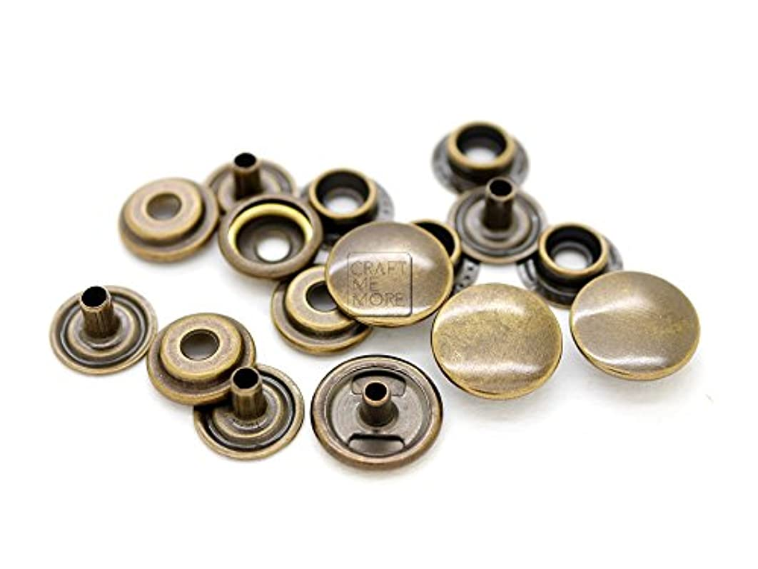 CRAFTMEmore 50 Pack Antique Brass Snap Fasteners Ring-Socket Press Studs Jacket Bag Canvas Closures (15mm (0.59