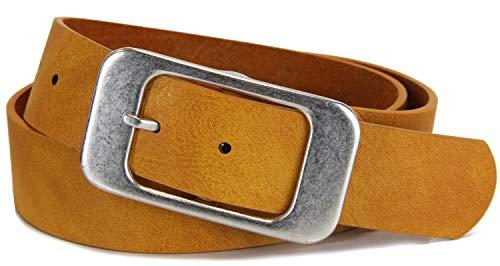 Schlichter Damen Gürtel mit klassischer silberner Schnalle, Breite ca. 3,7 cm, Ocker, 80 cm (für Hüftweite 75-85 cm)