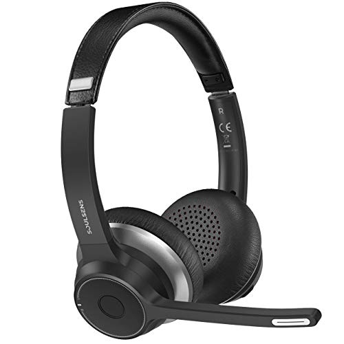 Soulsens Computer Headset with Dual-Mic, CVC8.0 USB Headset with Noise Canceling mic for Home Office, Comfort-Fit Business Headset for PC, Cell Phone, Office, Skype, 22H Talk Time