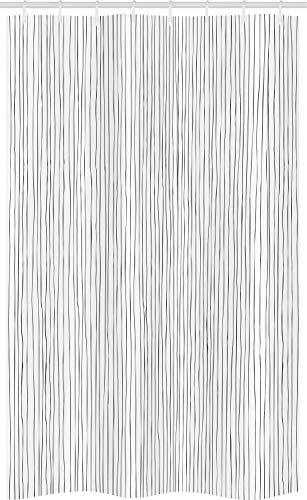 ABAKUHAUS Streep Douchegordijn, Verticale Thin dichte lijnen, voor Douchecabine Stoffen Badkamer Decoratie Set met Ophangringen, 120 x 180 cm, Donkergrijs en wit