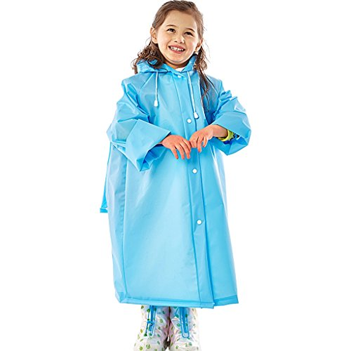 Vestes anti-pluie QFF Child Boy Girl Raincoat Student Outdoor Waterproof Long Section Transparent Big Hat Poncho (Couleur : Bleu, Taille : M)