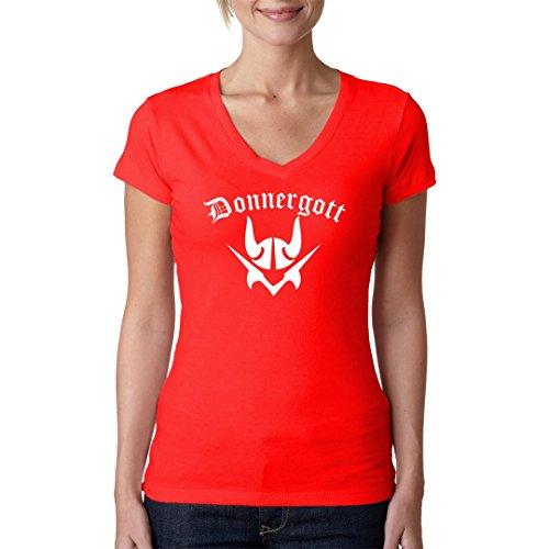Im-Shirt Fun Sprüche Girlie V-Neck Donnergott by Rot XL
