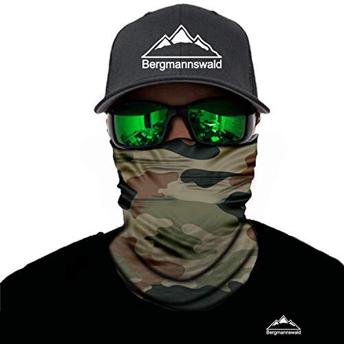 Bergmannswald® Multifunktionstuch nahtlos (1er Pack, Militär Tarnung Grün)