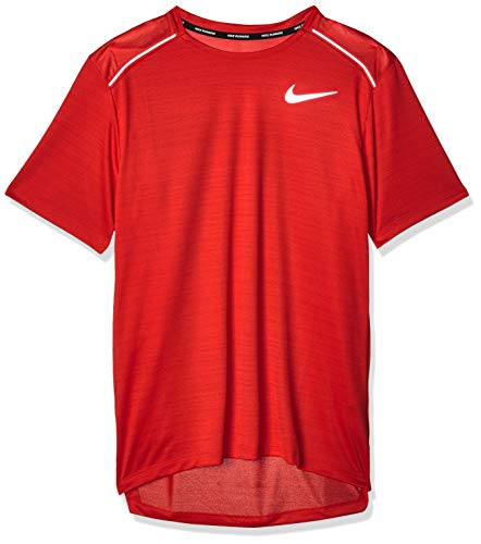 NIKE M Nk Dry Miler Top SS T-Shirt, Hombre, University Red/University Red/(Reflective Silv), XL