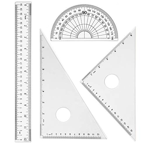 Coopay 4 Pieces Math Geometry Tool Set Includes Plastic Clear Ruler, Protractor, Triangle for School Office Home Supplies (12 inch)
