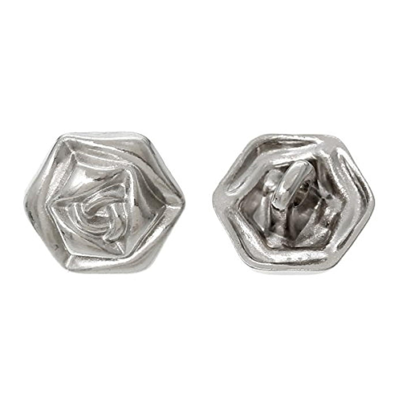 PEPPERLONELY Brand 10PC Shank Metal Button Flower Silver Tone Single Hole Lead & Nickel Free 13.0mm x 12.0mm( 4/8 x 4/8)