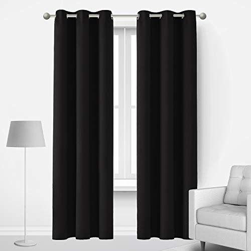 Deconovo Room Darkening Curtains, Thermal Insulated Grommet Window Blackout Curtains for Bedroom, 2 Panels, Black, 42x90 Inch