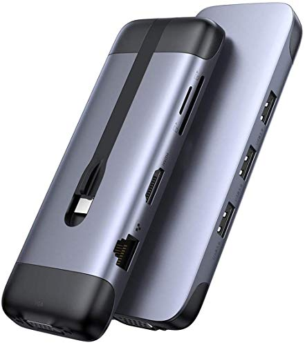 9 IN 1 USB-C Hub, Multi-port USB C Splitter with 4K HDMI, FHD VGA, Card Reader, Gigabit Ethernet, USB 3.0 Hub 100W USB-C PD Port, Compatible for Laptops, Macbook, Smartphone