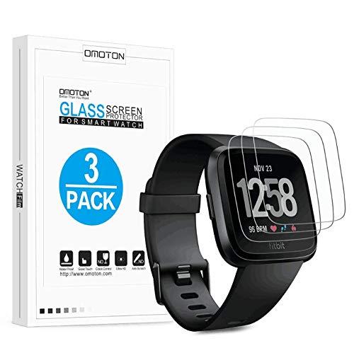 OMOTON [3 stuks] pantserglas beschermfolie voor Fitbit Versa Health & Fitness Smartwatch, 9H hardheid, anti-kras, anti-olie, anti-luchtbellen