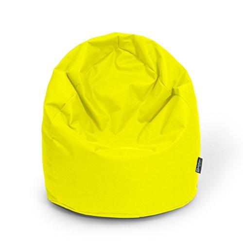 BuBiBag Sitzsack Tropfenform Beanbag Sitzkissen für In & Outdoor XL 300 Liter bis XXXL 470L mit Styropor Füllung in 23 versch. Farben (XL, gelb)