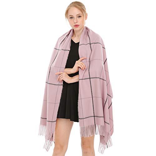 Longwu Donna Morbida sciarpa in lana di cashmere Grande scalda Pashminas e avvolgente coperta con stola calda-Rosa Viola