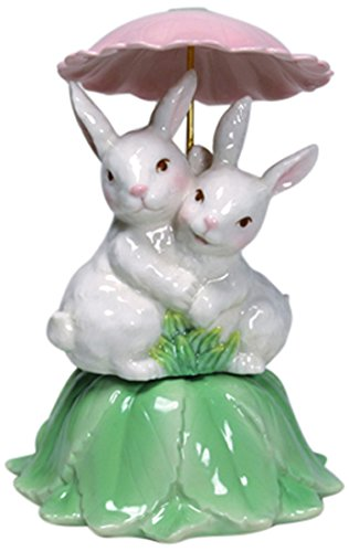 Image of Porcelain Snuggle Bunny Musical Figurine