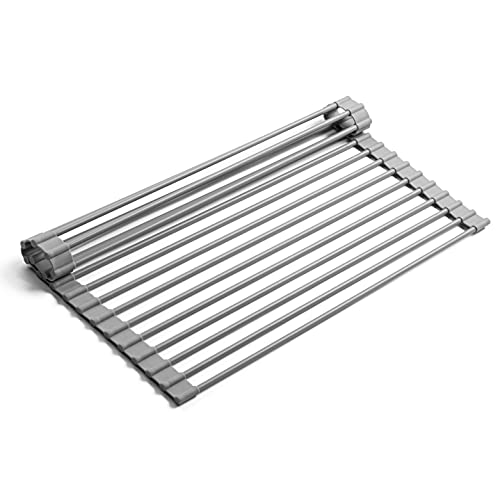 Bellemain Over-The-Sink Roll-Up Dish Drying Rack, Multi-Use Drying, Draining, Trivet (Grey, Medium) Kitchen Sink Accessories