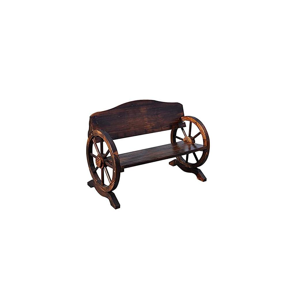MIMI KING Banc Roue Wagon en Bois Rétro, pour Banc Porche Jardin Patio Park, Chaises Balcon Pelouse en Bois Massif…