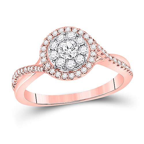 Diamond2Deal Hombre Mujer Unisex oro 14 quilates (585) oro rosa 14ct round-shape G-H Diamante blanco