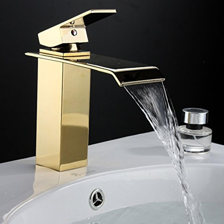 Retro Deluxe FaucetingDhl Kostenloserversand Gold Bad Armaturen Wasserfall Wasserhahn warmes und kaltes Gert Wasserhahn aus poliertem Goldenen Badezimmer Waschbecken Mischbatterie