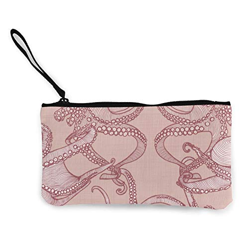 Cephalopod Octopi Blush Women Canvas Coin Purse Unisex 3D Print Pattern Coin Wallets for Men and Women