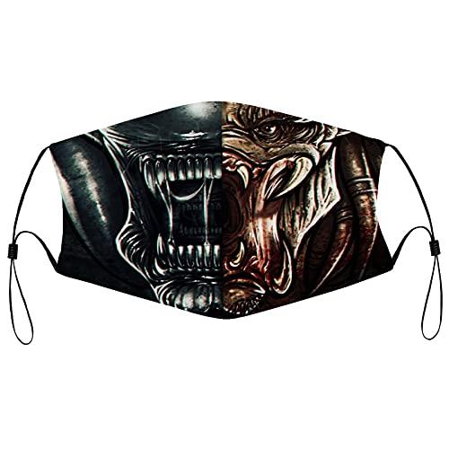 Best-design Alien-vs-depredator - Cómodas bandas elásticas ajustables para hombres y mujeres decoración de la cara, neutral y reutilizable elegante funda lavable